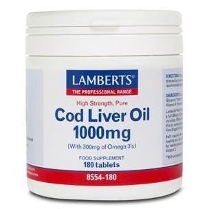Lamberts Aceite Hígado de Bacalao (180 cáp. de 1.000 mg)