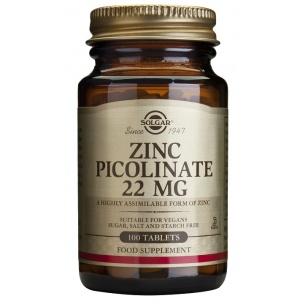Picolinato de Zinc 22mg (100 tabletas) Solgar