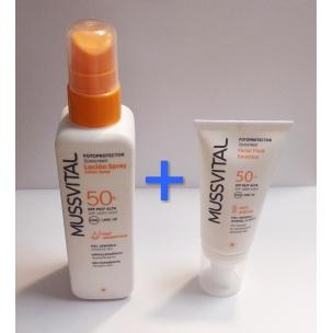 Mussvital Fotoprotector Pack Spray 50+ SPF + Facial Fluido Emulsión SPF 50+ (200ml+50ml)